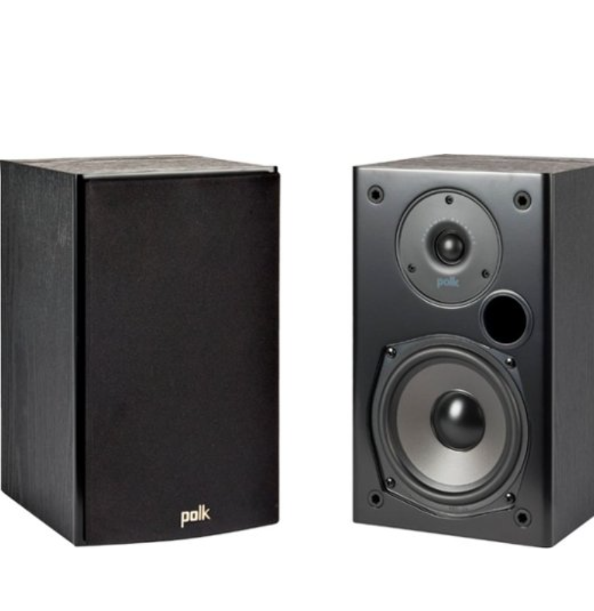 Polk Audio T15 100 Watt Home Theater Bookshelf Speakers (Pair) | Dolby and DTS Surround | Wall-Mountable - Black