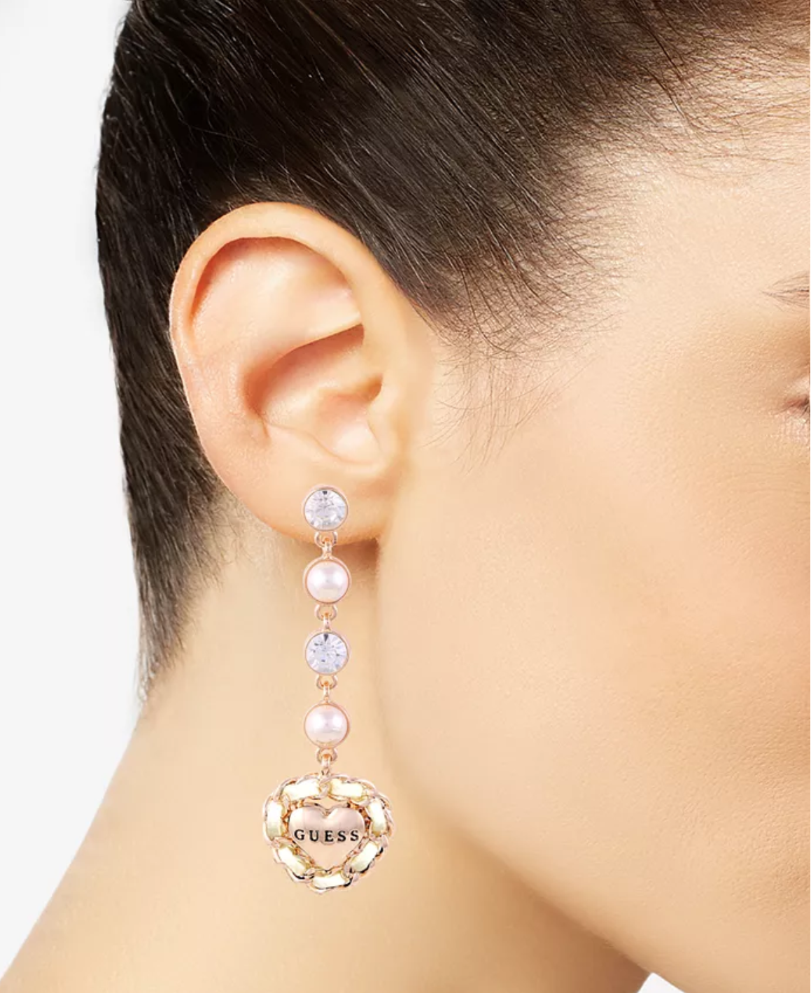 GUESS Rose Gold-Tone Imitation Pearl & Crystal Heart Drop Earrings @Macy's Buy 1 30% off, Buy 2 50% off