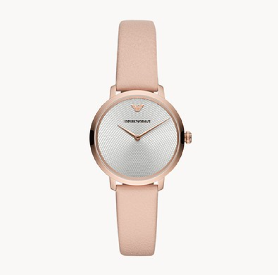 50% off Emporio Armani Women's Two-Hand Nude Leather Watch @Watch Station