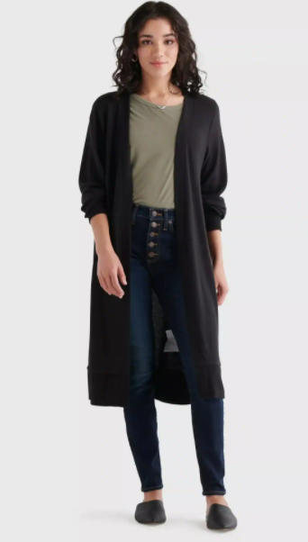 Lucky Brand Women's High Rib Cloud Jersey Cardigan (Black)