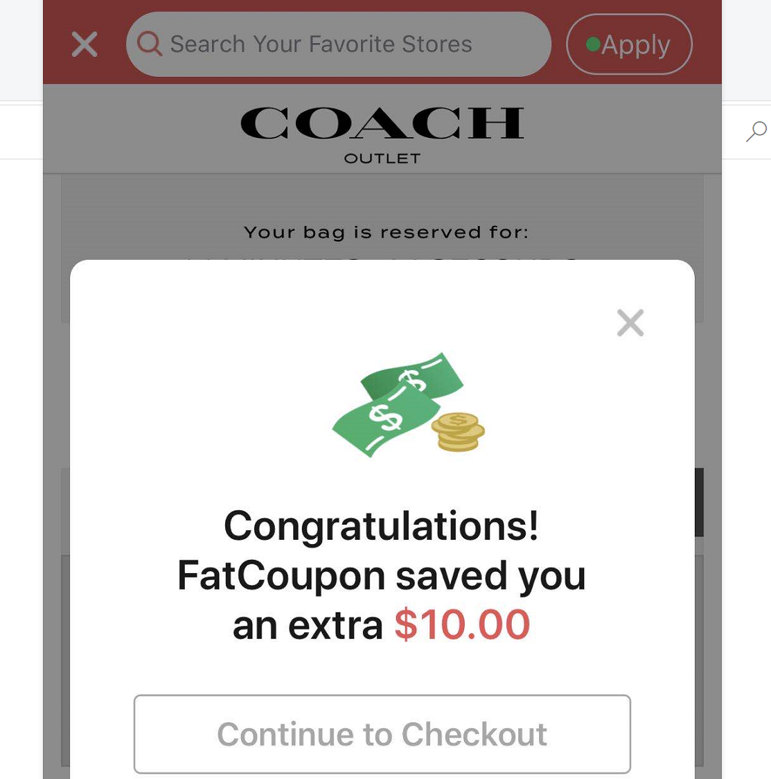 Coach Outlet: EXTA $10 off $100 Coupon with FatCoupon