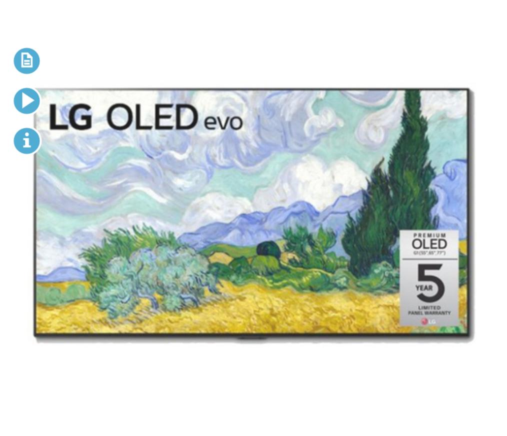 LG OLED55G1PUA 55 Inch OLED evo Gallery TV + 5 Year LG Warranty (2021 Model) @BuyDig.com