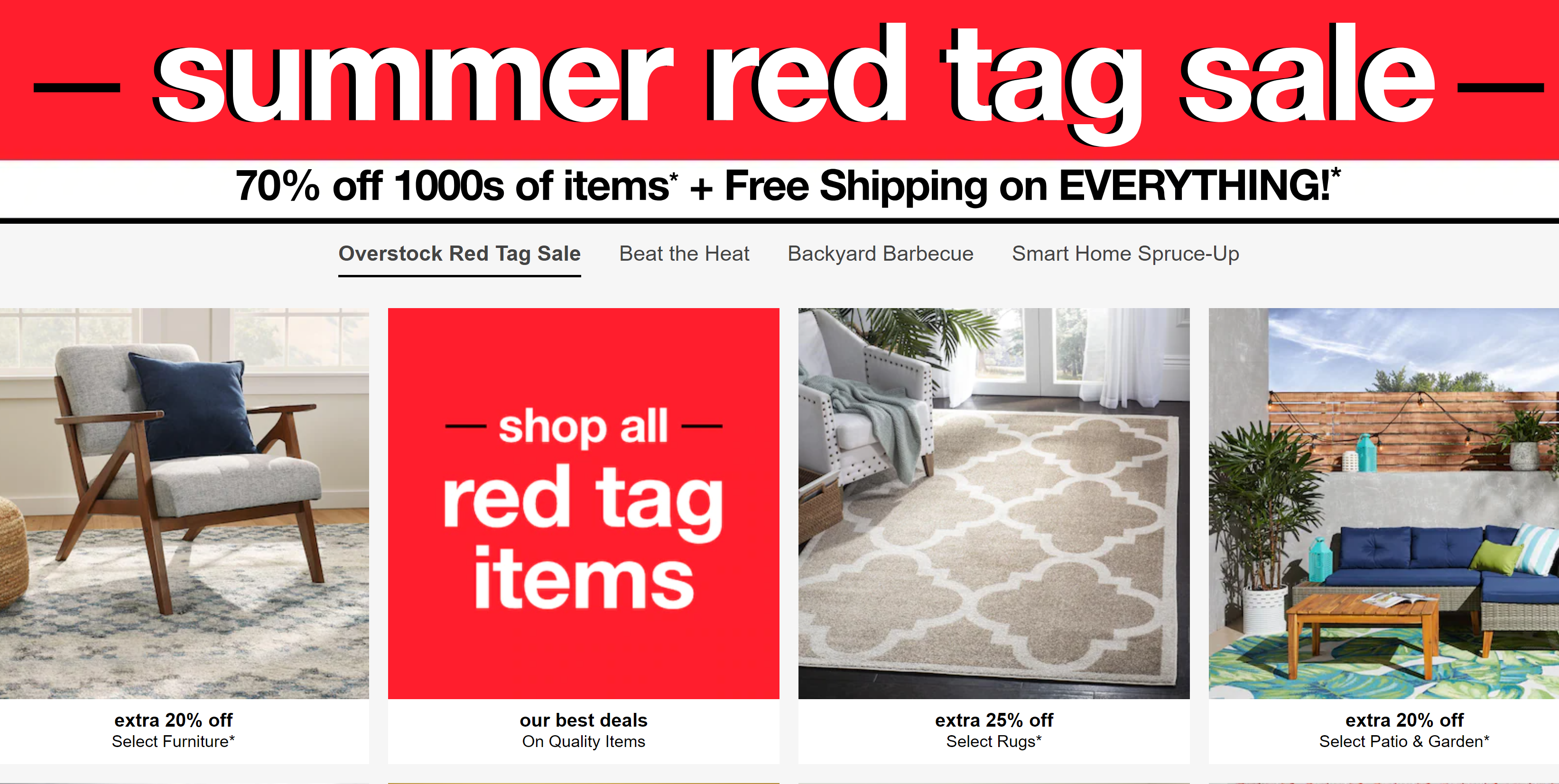 Overstock Summer Red Tag Sale