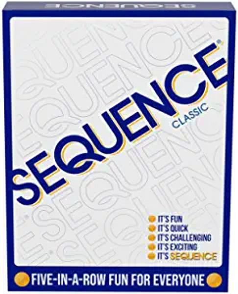 """SEQUENCE- Original SEQUENCE Game with Folding Board, Cards and Chips by Jax ( Packaging may Vary ) White, 10.3"""" x 8.1"""" x 2.31"""""""
