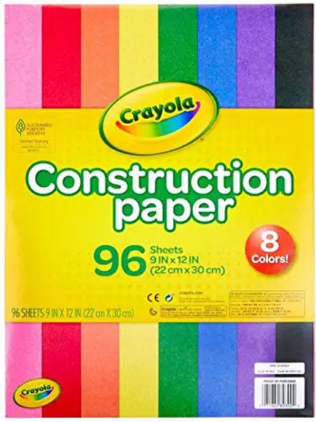 "Crayola Construction Paper, School Supplies, 96 ct Assorted Colors, 9"" x 12"" | Amazon"
