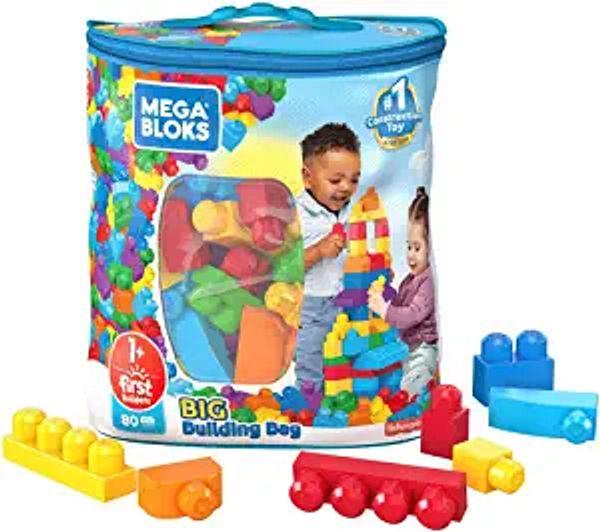 Mega Bloks First Builders Big Building Bag with Big Building Blocks, Building Toys for Toddlers (80 Pieces) - Blue Bag | Amazon