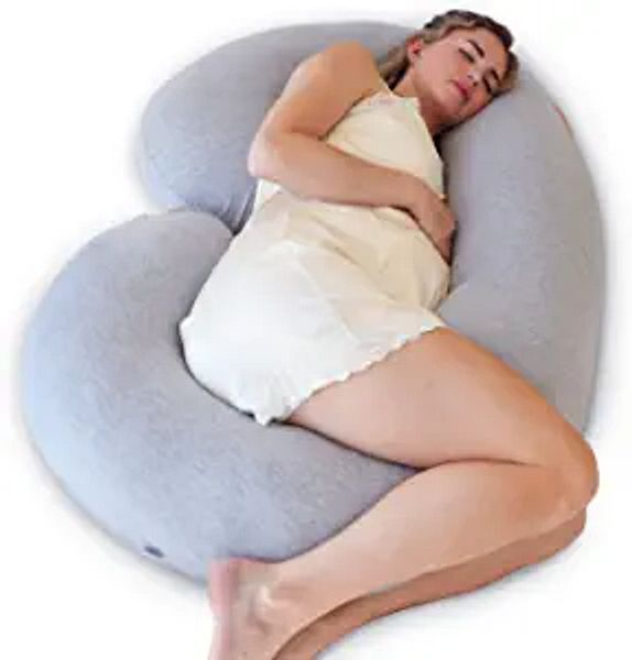 PharMeDoc Pregnancy Pillow, C-Shape Full Body Pillow and Maternity Support ( Grey Jersey Cover)- Support for Back, Hips, Legs, Belly for Pregnant Women