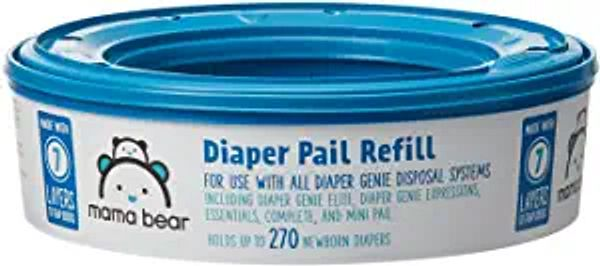 Amazon Brand - Mama Bear Diaper Pail Refills for Diaper Genie Pails, 270 Count (Pack of 1)