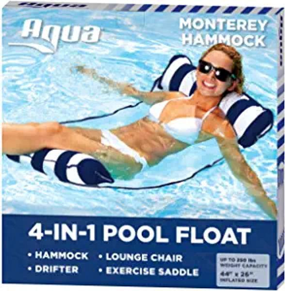 Aqua 4-in-1 Monterey Hammock Inflatable Pool Float, Multi-Purpose Pool Hammock (Saddle, Lounge Chair, Hammock, Drifter) Pool Chair, Portable Water Hammock, Navy/White Stripe | Amazon