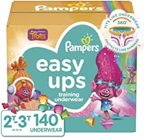 Pampers Easy Ups Training Pants Girls and Boys, Size 4 (2T-3T), 140 Count   Amazon