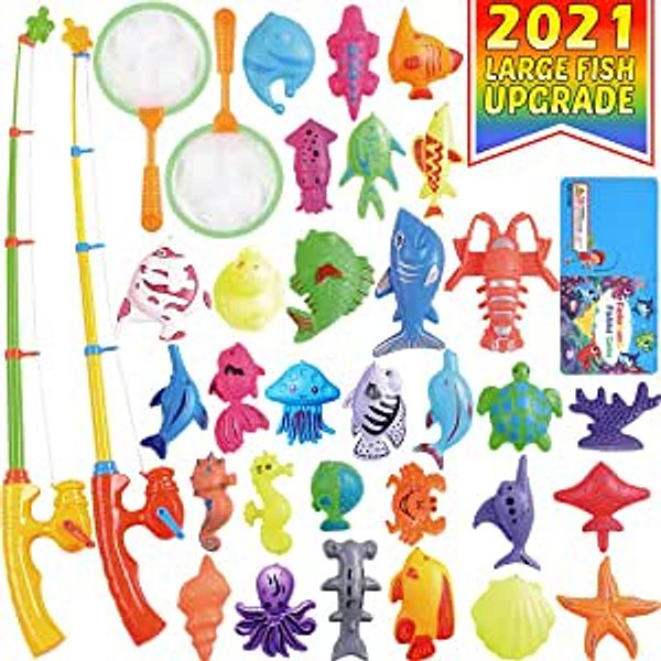CozyBomB Magnetic Fishing Pool Toys Game for Kids - Water Table Bathtub Kiddie Party Toy with Pole Rod Net Plastic Floating Fish Toddler Color Ocean Sea Animals Age 3 4 5 6 Year Old | Amazon