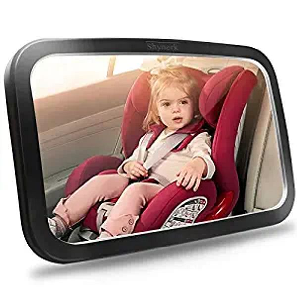 Shynerk Baby Car Mirror, Safety Car Seat Mirror for Rear Facing Infant with Wide Crystal Clear View, Shatterproof, Fully Assembled, Crash Tested and Certified | Amazon