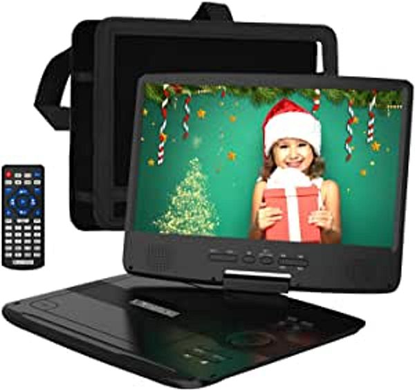 """HDJUNTUNKOR Portable DVD Player 12.5"""" with 10.1"""" HD Swivel Display Screen, 5 Hour Rechargeable Battery, Support CD/DVD/SD Card/USB, Car Headrest Case, Car Charger, Unique Extra Button Design 