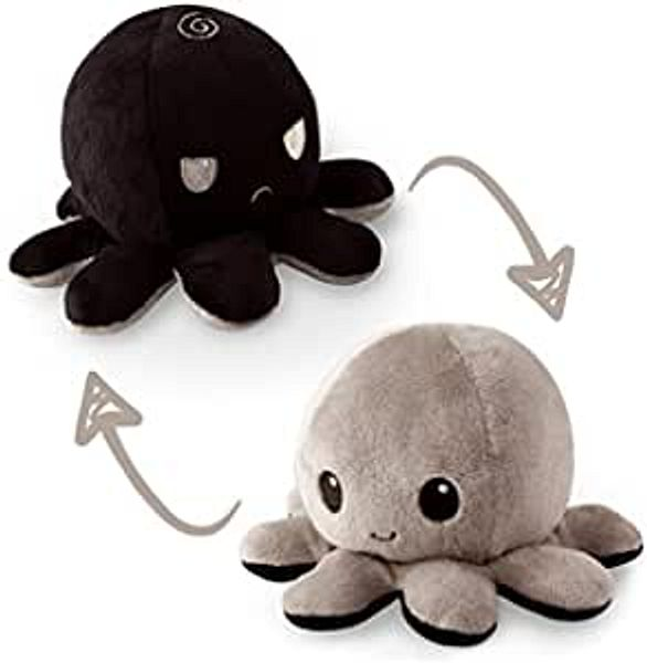The Original Reversible Octopus Plushie | TeeTurtle's Patented Design | Black and Gray | Show your mood without saying a word! | Amazon