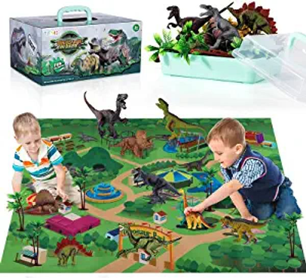 TEMI Dinosaur Toy Figure w/ Activity Play Mat & Trees, Educational Realistic Dinosaur Playset to Create a Dino World Including T-Rex, Triceratops, Velociraptor, Perfect Gifts for Kids, Boys & Girls | Amazon