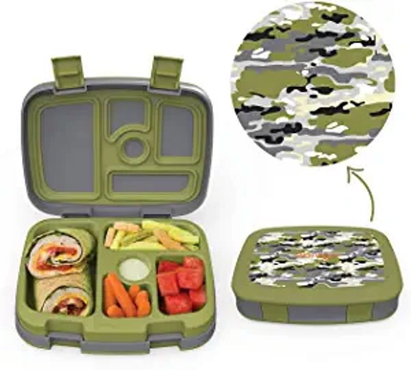 Bentgo Kids Prints (Camouflage) - Leak-Proof, 5-Compartment Bento-Style Kids Lunch Box – Ideal Portion Sizes for Ages 3 to 7 – BPA-Free and Food-Safe Materials | Amazon