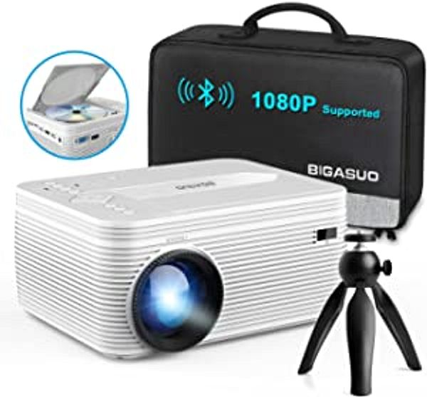 BIGASUO [2021 Upgrade] Full HD Bluetooth Projector with Built-in DVD Player, Portable Mini Projector Compatible with Phone/Pad/HDMI/VGA/AV/USB/TF SD Card, 720P Native 1080P Supported | Amazon