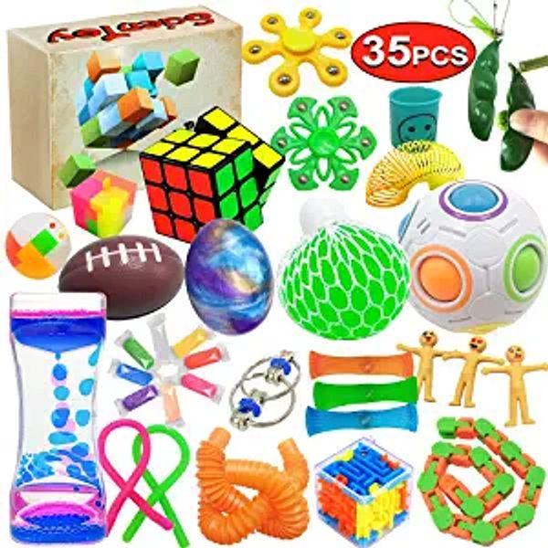 Scientoy Fidget Toy Set, 35 Pcs Sensory Toy for ADD, OCD, Autistic Children, Adults, Anxiety Autism to Stress Relief and Anti Anxiety with Motion Timer, Perfect for Classroom Reward with Gift Box | Amazon