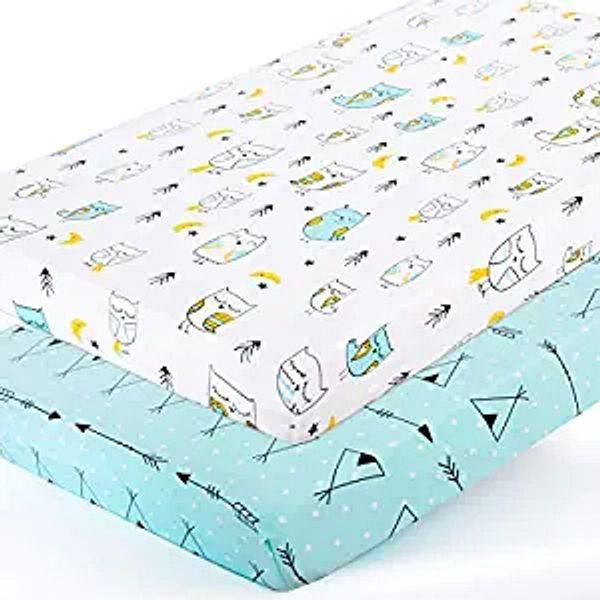 Stretchy-Pack-n-Play-Playard-Sheets-Brolex 2 Pack Portable Mini Crib Sheets,Convertible Playard Mattress Cover for Baby Boys Gilrs,Ultra Soft Jersey Knit,Arrow & Owl | Amazon