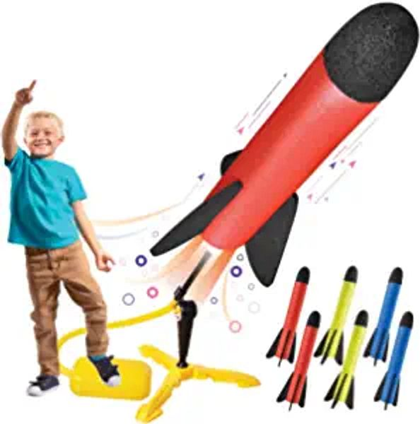 Toy Rocket Launcher for kids – Shoots Up to 100 Feet – 8 Colorful Foam Rockets and Sturdy Launcher Stand With Foot Launch Pad - Fun Outdoor Toy for Kids - Gift Toys for Boys and Girls Age 3+ Years Old | Amazon