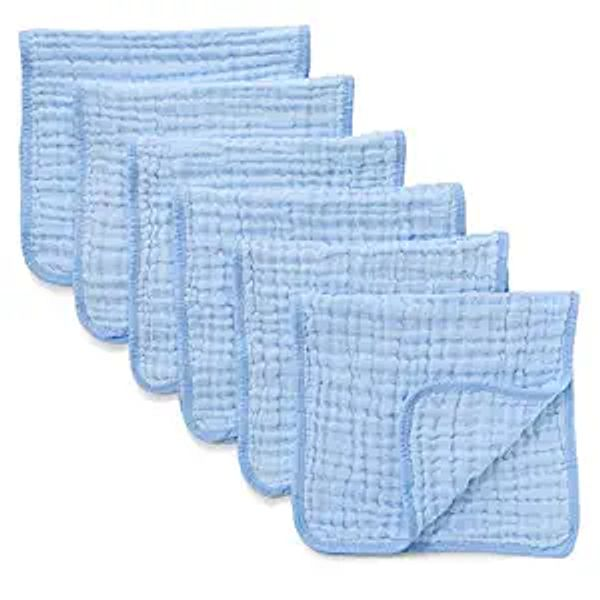 Muslin Burp Cloths 6 Pack Large 100% Cotton Hand Washcloths 6 Layers Extra Absorbent and Soft (Blue, Pack of 6)