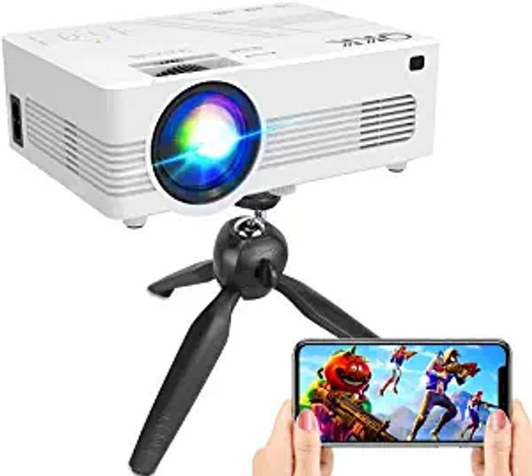 """[WiFi Projector] QKK Upgraded 6500Lumens Projector, Full HD 1080P Supported Mini Projector [Tripod Included], Max 200"""" Display, Smartphone/HDMI/AV/USB/TF/Sound Bar/TV Stick Supported 