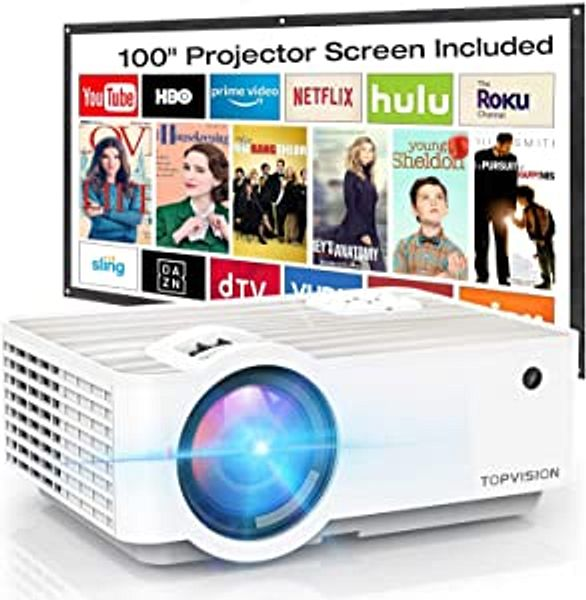 """Video Projector, TOPVISION 6500L Portable Mini Projector with 100"""" Projector Screen, 1080P Supported, Built in HI-FI Speakers, Compatible with Fire Stick, HDMI, VGA, USB, TF, AV, PS4 
