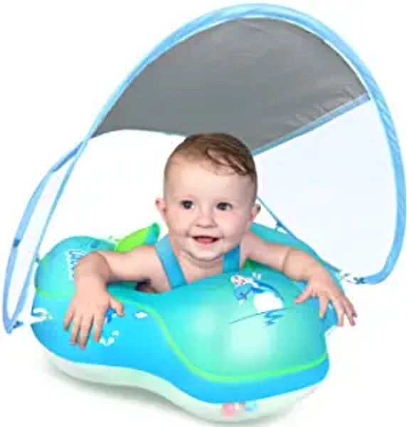 LAYCOL Baby Swimming Float Inflatable Baby Pool Float Ring Newest with Sun Protection Canopy,add Tail no flip Over for Age of 3-36 Months | Amazon