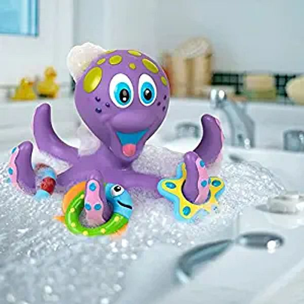 Nuby Floating Purple Octopus with 3 Hoopla Rings Interactive Bath Toy | Amazon