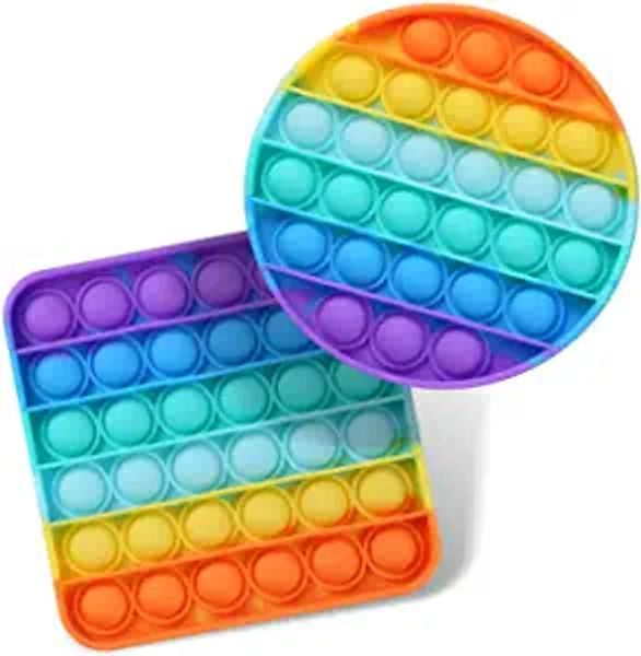 2 Packs Push Pop Bubble Sensory Fidget Toys, Autism Special Needs Stress Relief Silicone Pressure Relieving Toys, Round and Square Squeeze Toys for Kids Children Adults (Set of 2) | Amazon