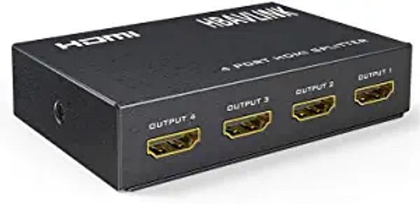 HDMI Splitter 1 in 4 Out - HBAVLINK 4 Way HDMI Splitter V1.4 Distributor Amplifier Switch Duplicate 1 Signal to 4 Monitors 98 feet Long Distance Support HDCP 3D HDR 4K 30Hz