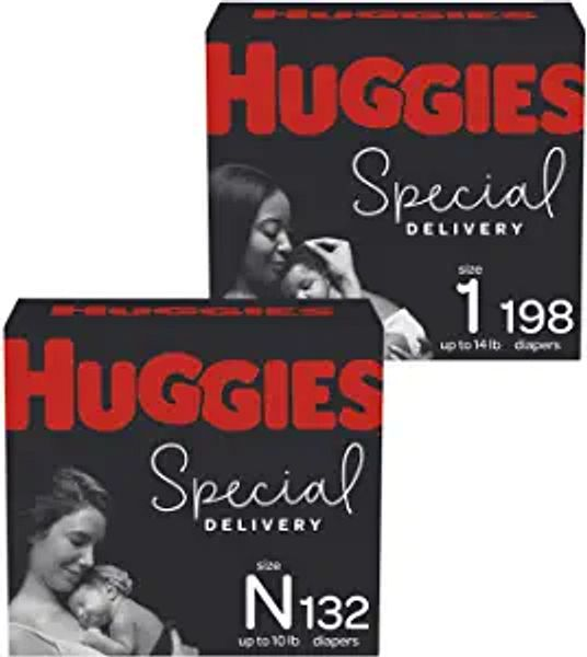 Hypoallergenic Newborn Baby Diapers (132ct) & Size 1 (198ct), Huggies Special Delivery