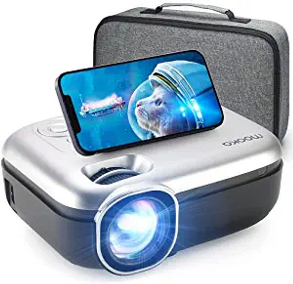 """MOOKA WiFi Projector, 1080P Full HD Supported 200"""" Video Projector, 7500L Mini Projector, Movie Home Theater for TV Stick, Video Games, HDMI/USB/AUX/AV/PS4, iOS Android Smartphone Screen, Carrying Bag"""