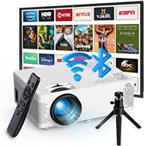 Mini Projector Bluetooth,Outdoor Movie Projector with Tripod,WiFi Projector for iPhone,Portable Projectors Supported 1080P FHD, Video Home Theater Projector with TV Stick/HDMI/USB/Phones/PS4/TV Box