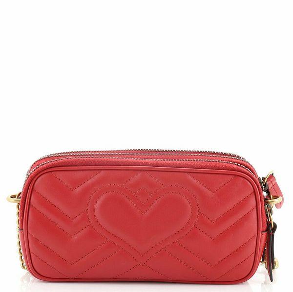 Gucci GG Marmont Triple Zip Chain Bag Matelasse Leather Mini  | eBay