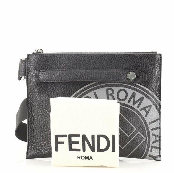Fendi Logo Stamp Flat Messenger Printed Leather Small    eBay