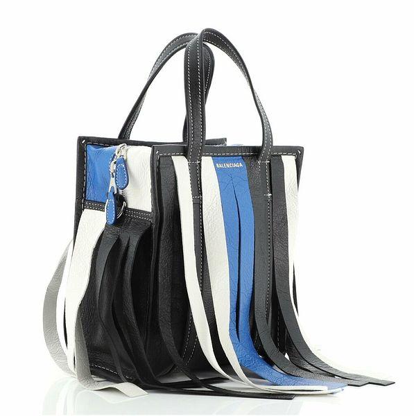 Balenciaga Bazar Convertible Tote Fringe Striped Leather XS  | eBay
