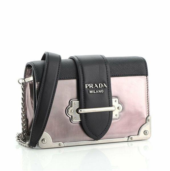 Prada Cahier Chain Crossbody Bag Patent and Saffiano Leather Small  | eBay