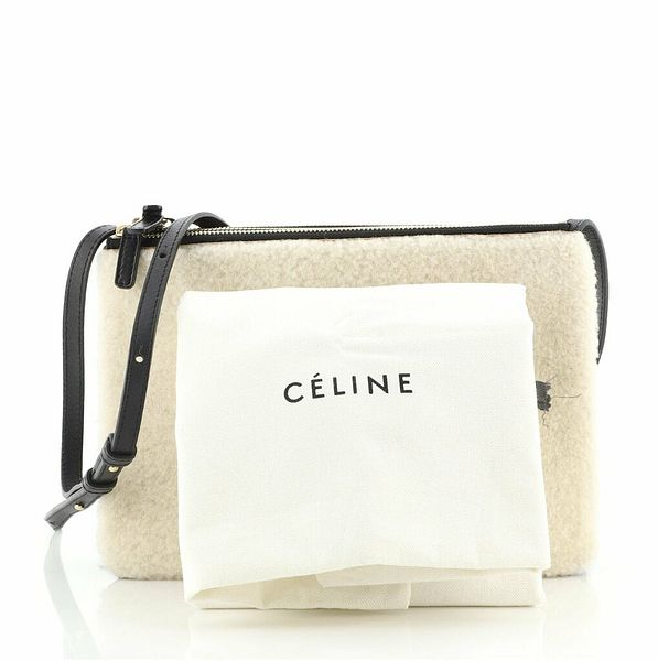 Celine Trio Crossbody Bag Shearling and Leather Large    eBay