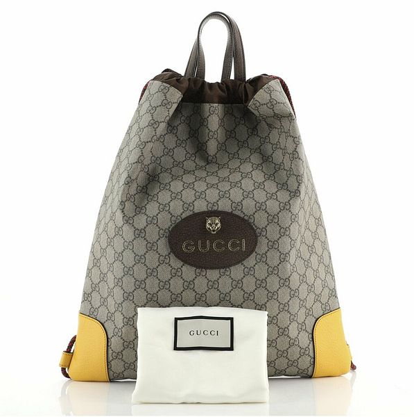 Gucci Neo Vintage Drawstring Backpack GG Coated Canvas Large  | eBay