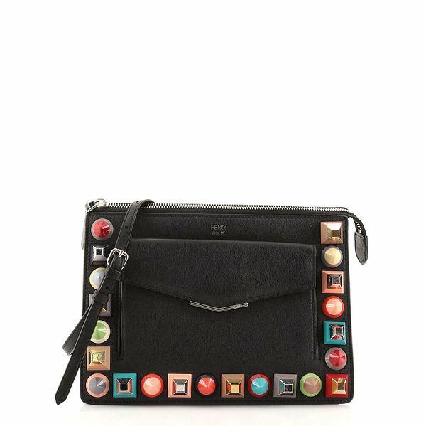 Fendi Front Pocket Crossbody Bag Studded Leather Small  | eBay