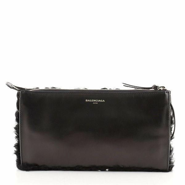 Balenciaga Zip Clutch Shearling and Leather Medium    eBay