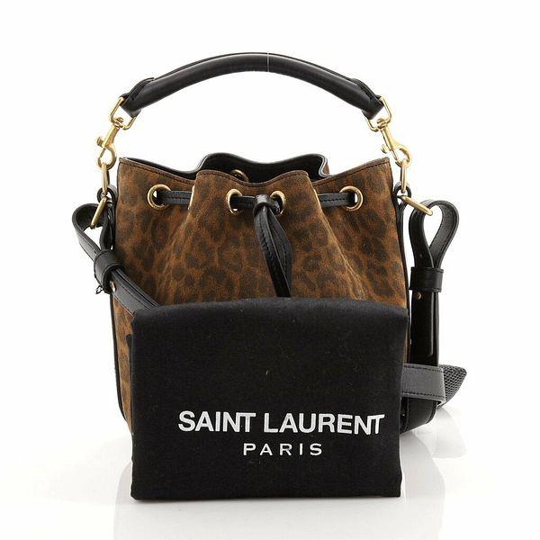 Saint Laurent Emmanuelle Bucket Bag Leopard Print Suede Small  | eBay