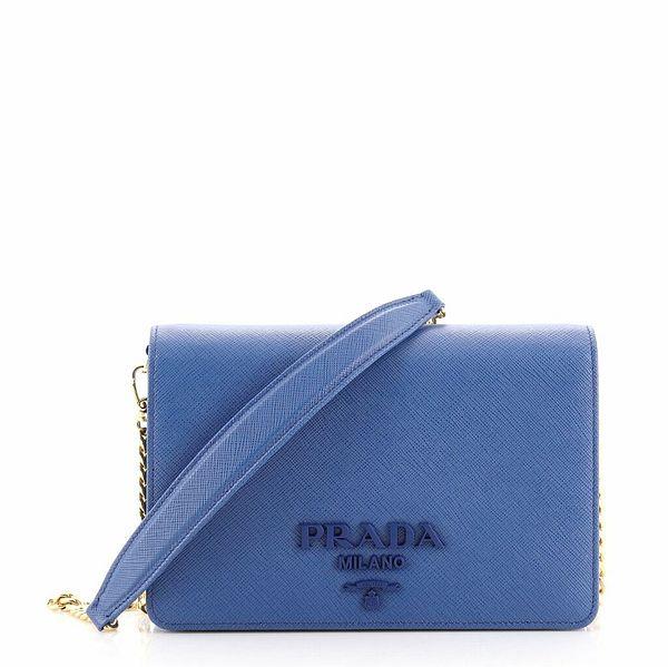 Prada Monochrome Chain Flap Bag Saffiano Leather Small  | eBay