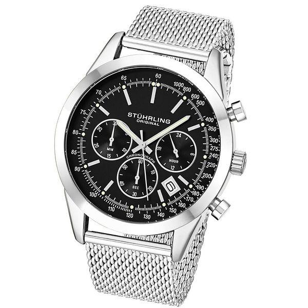 Stuhrling Steel Case & Mesh Bracelet Round 44mm Chronograph Date Mens Watch 3975   Ebay
