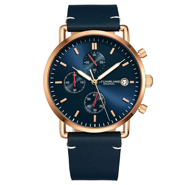 Stuhrling 3903 Men's Sports Chronograph Japan Quartz Genuine Leather Strap Watch | Ebay