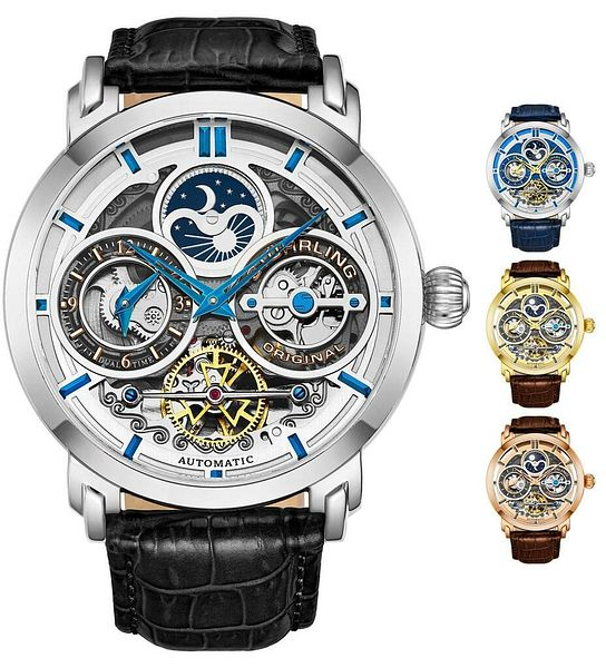 Stuhrling Luciano 371A Men's Automatic Self Wind Dual Time Animated AM/PM Watch | Ebay