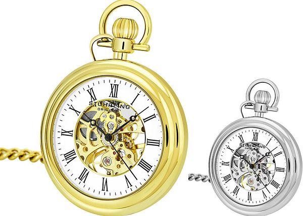 Stuhrling 6053 Men's Vintage Mechanical Skeleton Stainless Steel Pocket Watch   Ebay
