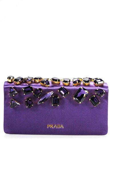 Prada Satin Crystal Jeweled Gold Chain Evening Clutch Shoulder Handbag Purple  | eBay