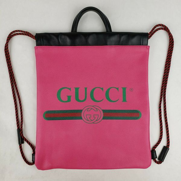 Gucci Hot Pink Leather Drawstring Backpack with Logo Print 523586 8841  | eBay